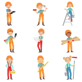 Kinder, die bauarbeitsset tun