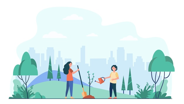Kinder, die baum im stadtpark pflanzen. kinder mit gartengeräten, die mit grünen pflanzen im freien arbeiten.