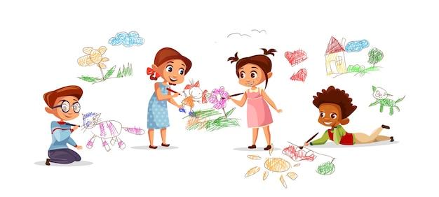 Kinder, die bilder mit kreidestiften des karikaturkinderkindergartens zeichnen.