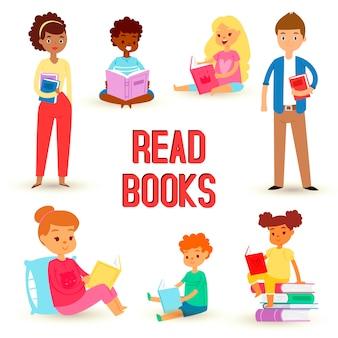 Kinder, die bücher lesen und literatur genießen, setzten glückliche jungen und mädchen