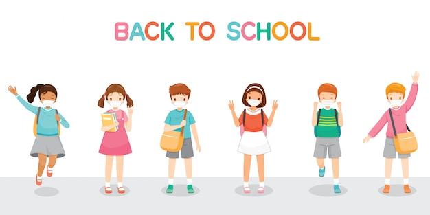 Kinder, die chirurgische maske tragen, glücklich zurück zur schule, springend, fröhlich zusammen