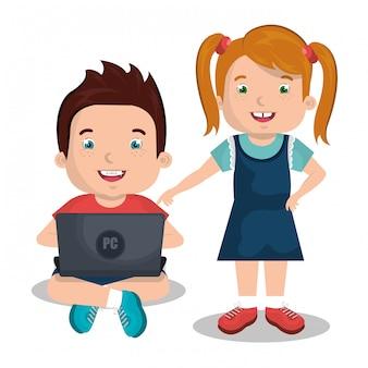 Kinder, die computer benutzen