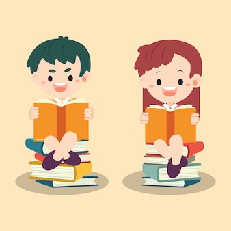 Kinder, die das buch lesen. kinder sitzen auf buchhaufen.