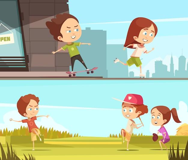 Kinder, die draußen horizontale fahnen des sports tun