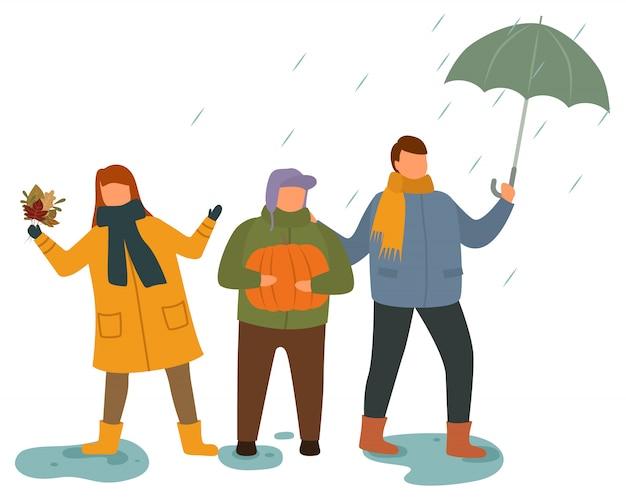 Kinder, die draußen im regenwetter-vektor spielen