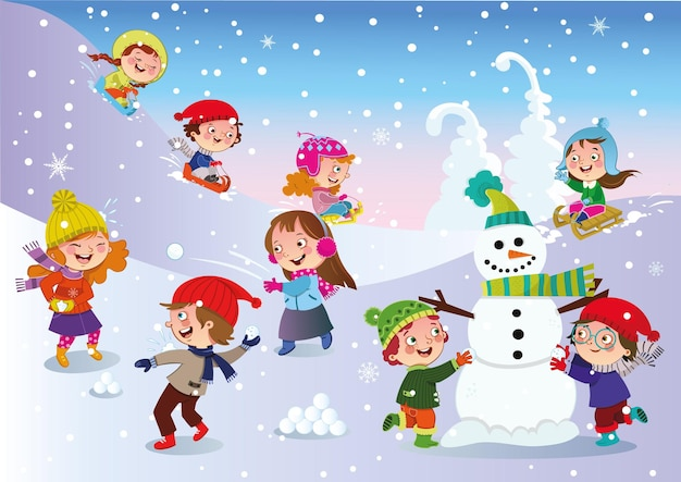 Kinder, die draußen in der wintervektorillustration spielen