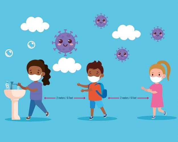 Kinder, die eine medizinische maske und soziale distanz tragen, schützen das coronavirus covid 19 und stehen in der schlange, um sich die hände zu waschen
