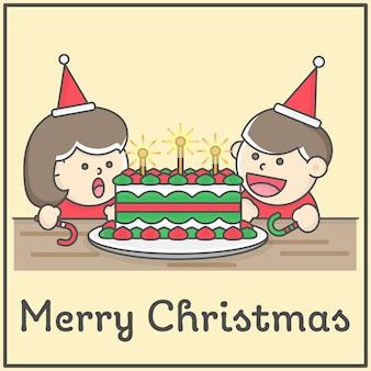 Kinder, die eine überraschung mit großem kuchen der frohen weihnachten im flachen karikaturdesign für design ele haben