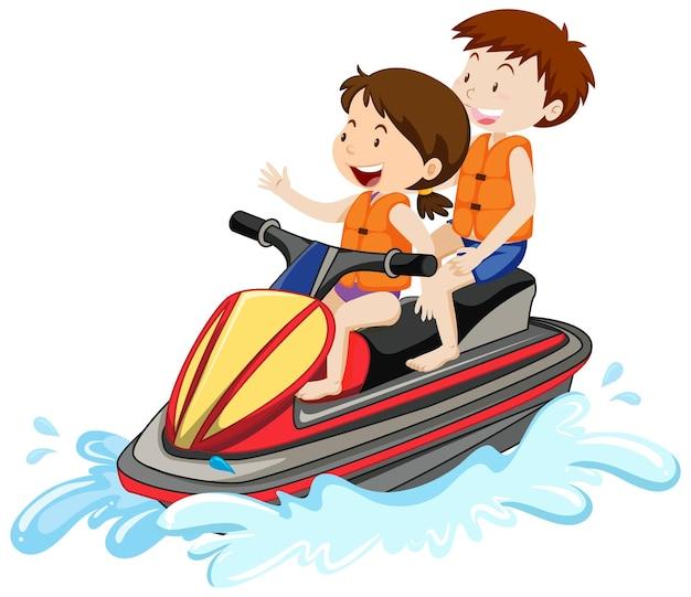 Kinder, die einen jet-ski lokalisiert auf weißem hintergrund fahren