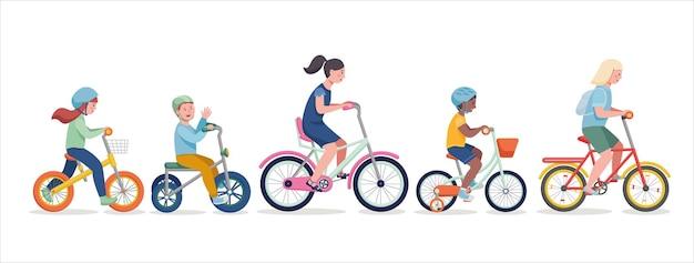 Kinder, die fahrrad fahren. illustration einer gruppe von kindern, die auf fahrrädern radfahren