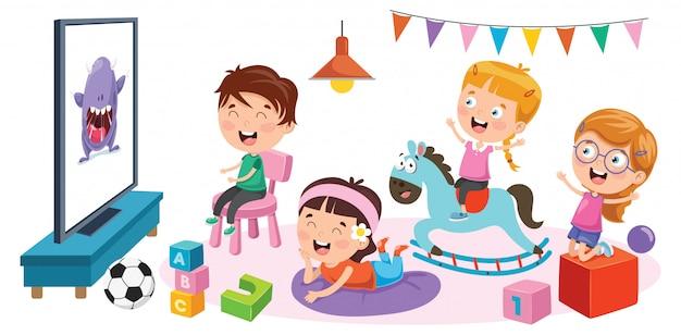 Kinder, die fernsehen in einem raum