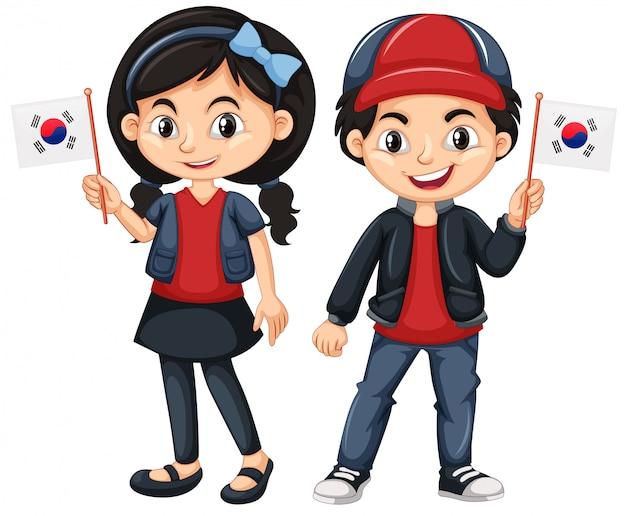 Kinder, die flagge von südkorea halten