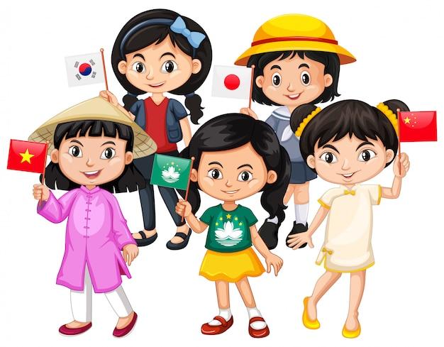 Kinder, die flagge von verschiedenen ländern halten