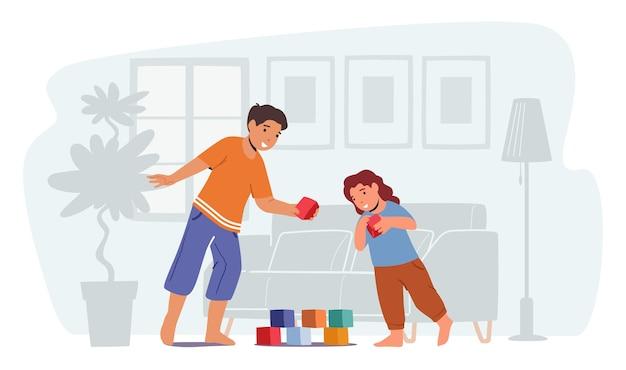 Kinder, die freizeit spielen. kleine jungen und mädchen spielen mit spielzeug, das turm aus würfeln auf dem boden baut. süße kinder freizeit