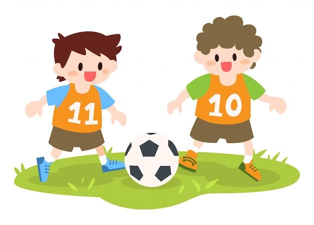 Kinder, die fußball-illustration spielen