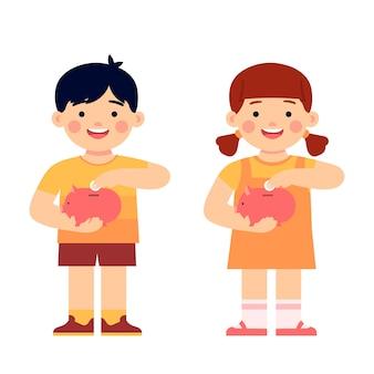 Kinder, die geld im sparschwein sparen