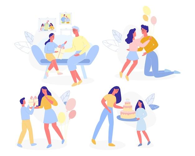 Kinder, die geschenken mutter-glücklichem mutter-tag darstellen