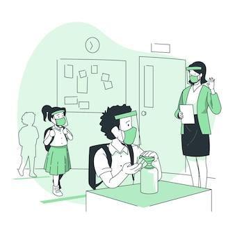 Kinder, die händedesinfektionsmittel an der schulkonzeptillustration verwenden