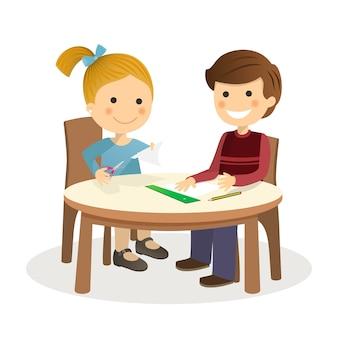 Kinder, die handwerk in einer tabelle auf weißem hintergrund machen