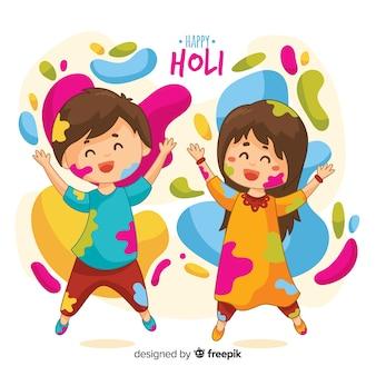 Kinder, die holi festivalhintergrund spielen