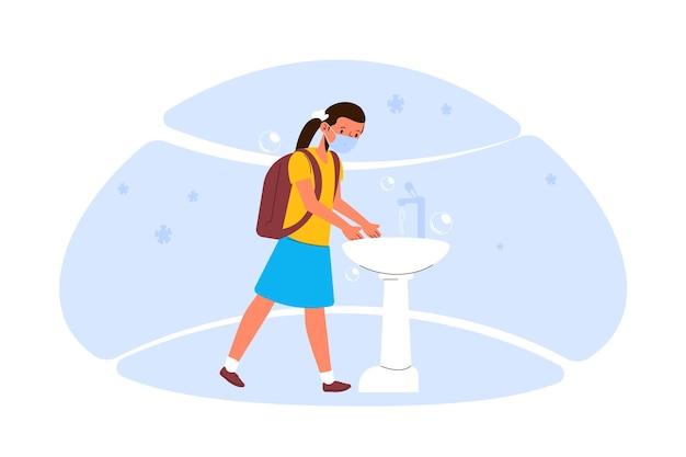 Kinder, die ihre hände am schulkonzept waschen