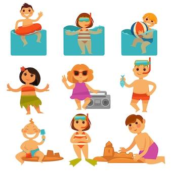 Kinder, die im bunten plakat des pools und des sandes sich entspannen