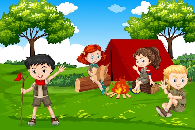 Kinder, die in der natur kampieren