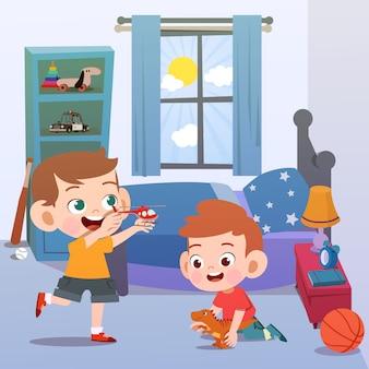 Kinder, die in der raumvektorillustration spielen