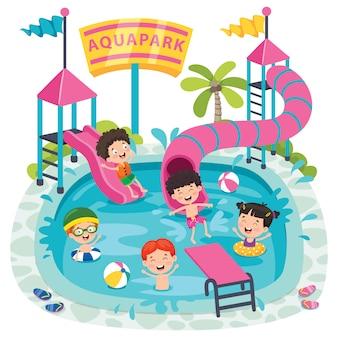 Kinder, die in einem aquapark schwimmen