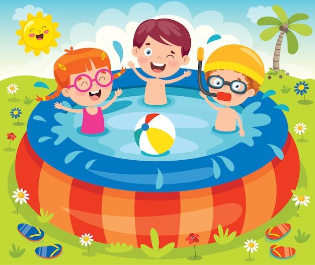 Kinder, die in einem aufblasbaren pool schwimmen