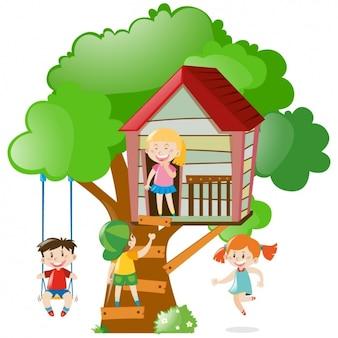 Kinder, die in einem baumhaus spielen