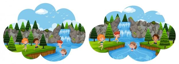 Kinder, die in urlaub im wasserfall gehen