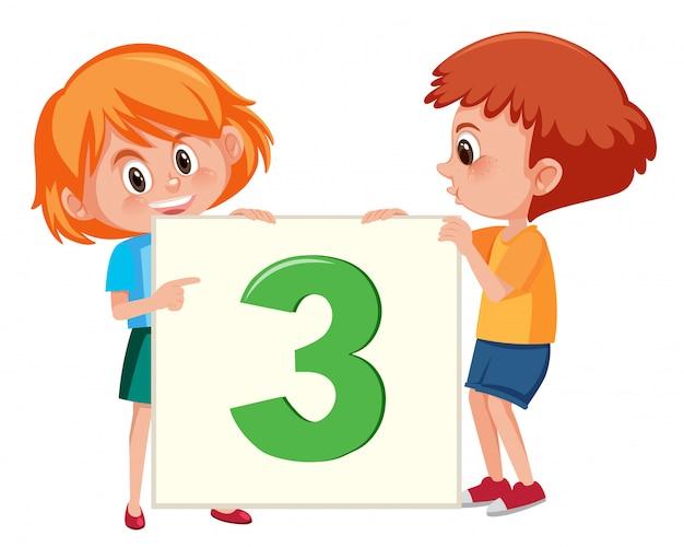 Kinder, die karte der nr. drei halten