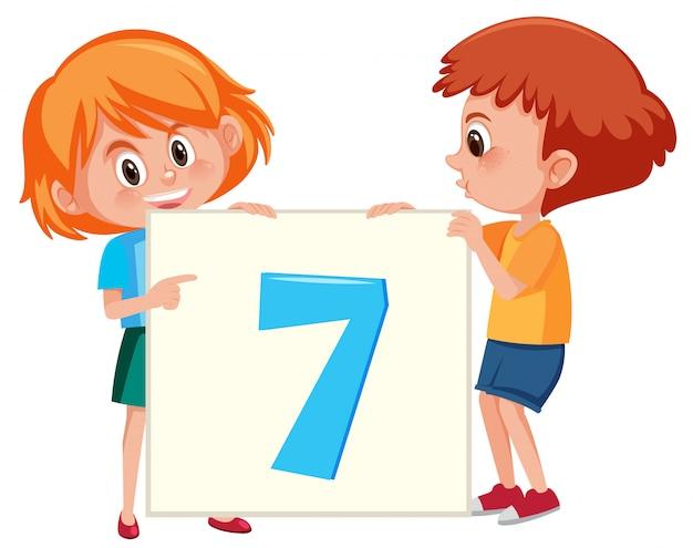 Kinder, die karte der nr. sieben halten