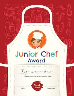 Kinder, die klassenzertifikat-designschablone kochen