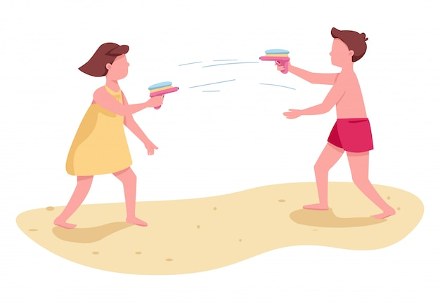 Kinder, die mit den gesichtslosen zeichen des flachen farbvektors der wasserpistolen kämpfen. kinderstrandaktivität. junge und mädchen sommerunterhaltung isolierte karikaturillustration