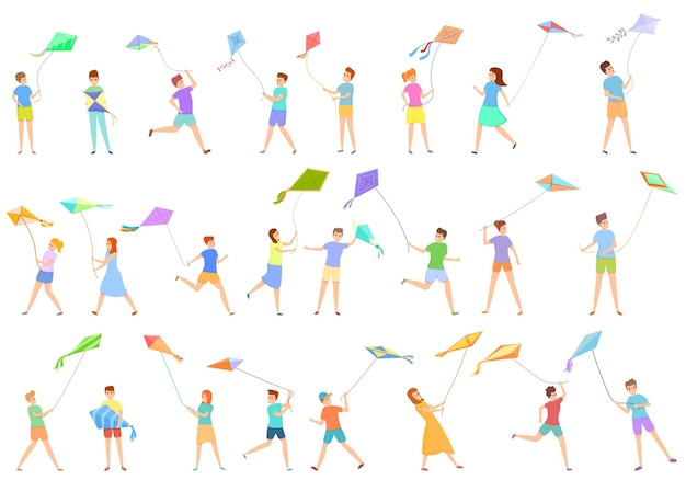 Kinder, die mit drachenikonen spielen, eingestellt. cartoon-set von kindern, die mit drachensymbolen spielen