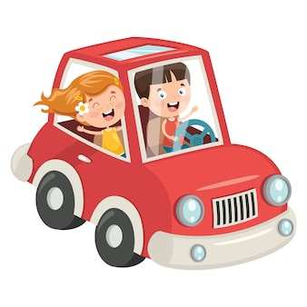 Kinder, die mit einem lustigen auto reisen