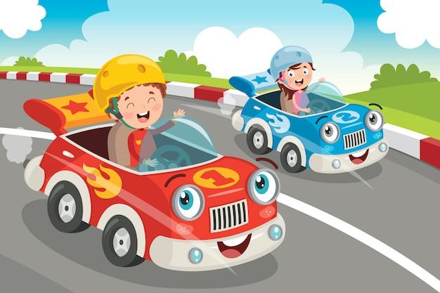 Kinder, die mit lustigen autos laufen