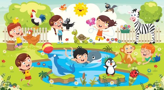 Kinder, die mit lustigen tieren spielen