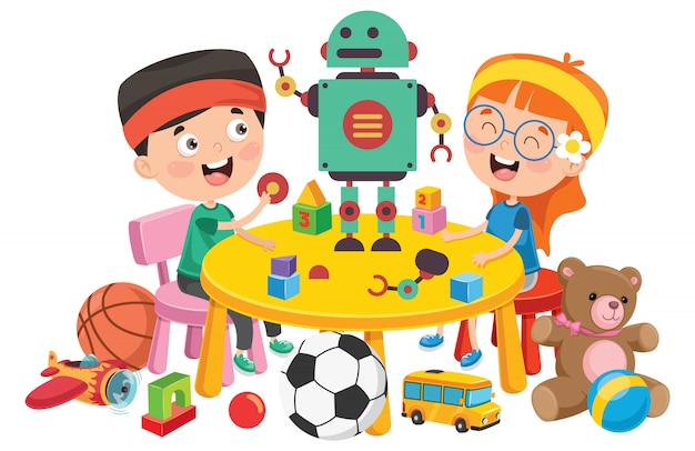 Kinder, die mit verschiedenen spielwaren spielen