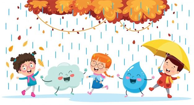 Kinder, die mit wolken-und regen-tropfen-charakter spielen