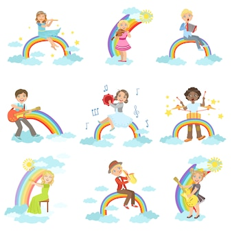 Kinder, die musikinstrumente mit regenbogen- und wolkendekoration spielen