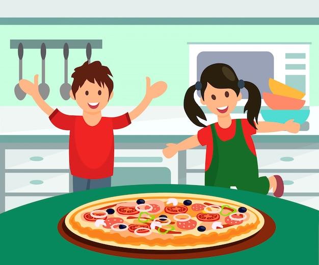 Kinder, die pizza für die flache illustration des mittagessens essen