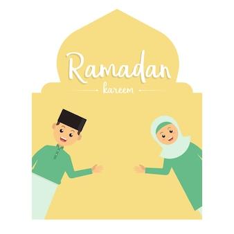 Kinder, die ramadan kareem gruß-karte grüßen