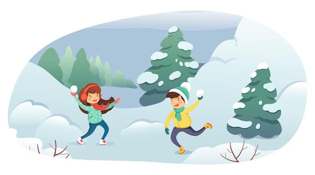 Kinder, die schneeballball-karikaturillustration spielen. winterunterhaltung, outdoor-aktivitäten, freizeit, aktives ruhekonzept.