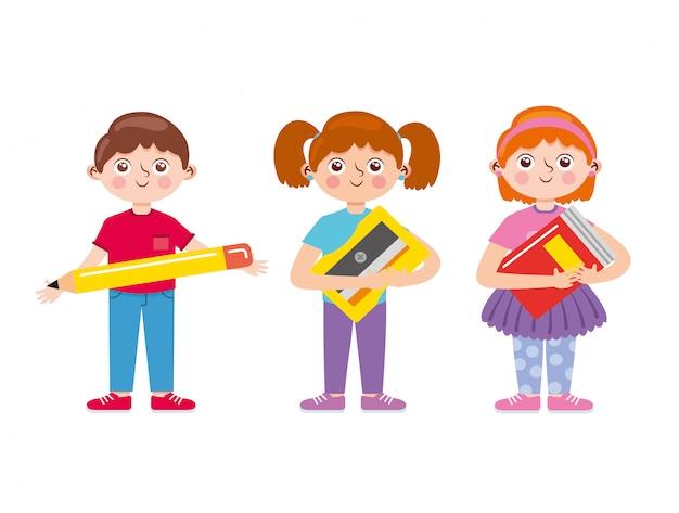 Kinder, die schulmaterialkarikatur halten. zurück zur schule. illustration