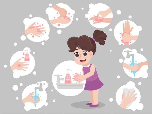 Kinder, die sich die hände waschen, um viren vorzubeugen