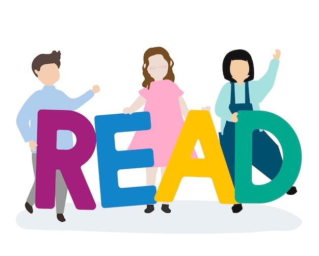 Kinder, die sich lehnen, um englisch zu lesen