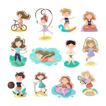 Kinder, die sportliche sommeraktivitäten machen